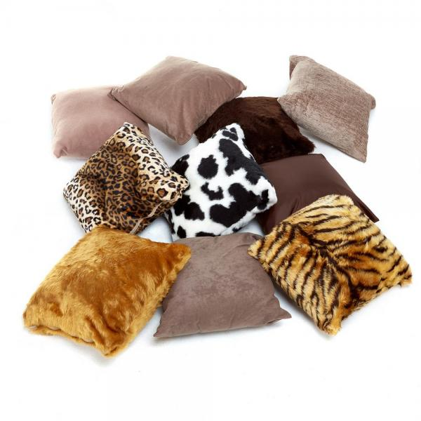 Animal Squares Furry Cushions - set of 10