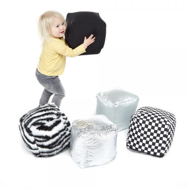 Textured Soft Play Cubes Black and White - set of 5