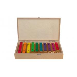 Coloured chime bars - wooden box
