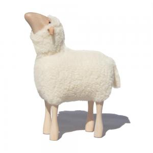 Lamb - real fur (short) looking up - white - 50 cm